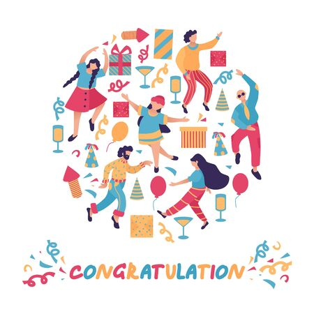Group of happy dancing people at holidays party. Design template of congratulation banner. Male and female characters. Funny friends dance with serpentine, gift, ballons. Vector illustration.