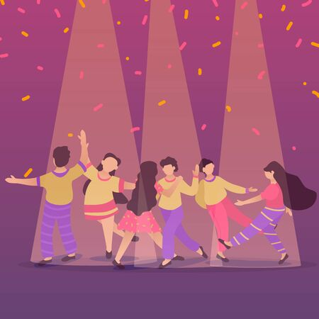 Happy dancing people at club. Male and female characters. Funny friends and couple dance and jump. Flat illustration