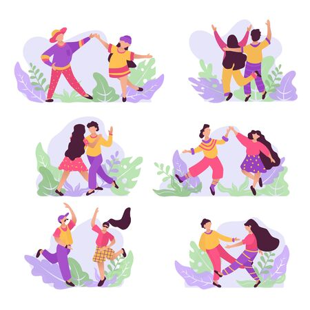Set of dancing couple. Male and female characters. Funny people dance and jump.dance and jump. Flat illustration