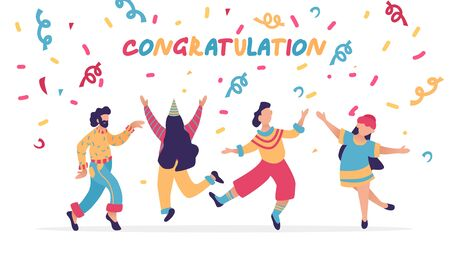 Group of happy dancing people at holidays party. Design template of congratulation banner. Male and female characters. Funny friends dance with serpentine. Vector illustration.