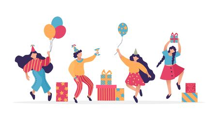 Group of happy dancing people at birthday party. Design template of congratulation banner. Male and female characters. Funny friends dance with gift, ballon. Vector illustration. Illustration