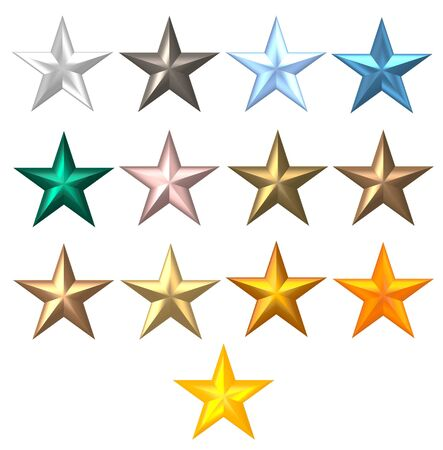 metal colorful stars on a white background  Stock Photo