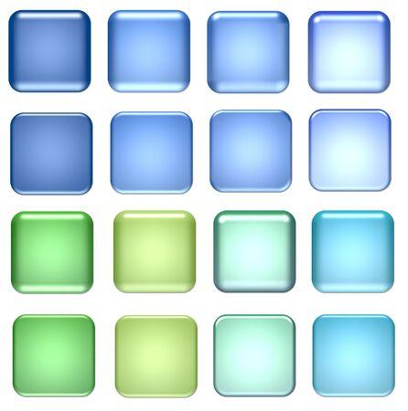 objetos cuadrados: azul y verde botones cuadrados de vidrio para el dise�o  Foto de archivo