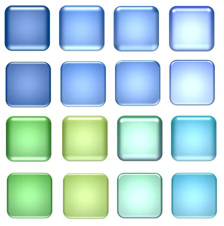 square button: blue and green square glass buttons for design