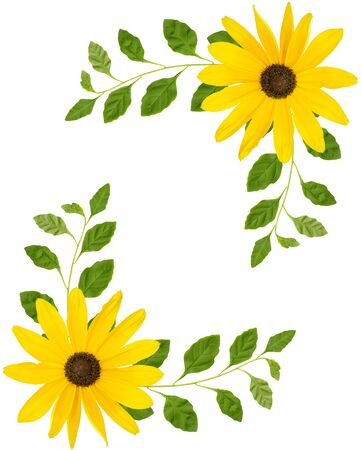corners made of yellow flowers and branches with green leaves on a white background Stock Photo