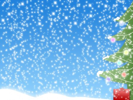 blue winter holiday background with fur-tree, present and snow