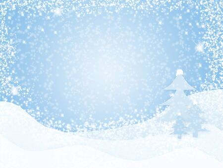 winter background with snow and fur-trees