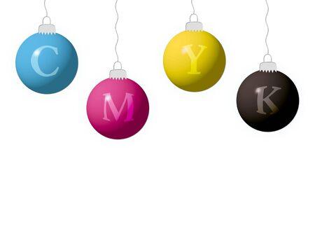 CMYK balls on white background