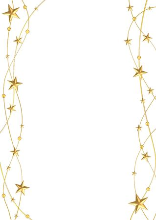 golden strings with stars and balls on a white background