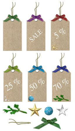 christmas sales tags with decorations isolated on a white background Stock Photo