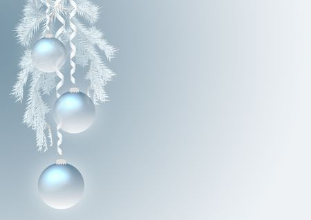 blue new year background with fur-tree and baubles