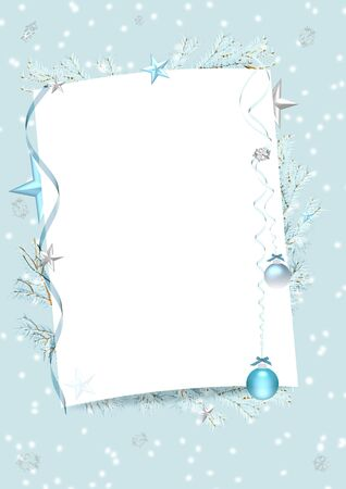 blue winter frame with blank sheet of paper, ribbons, fur-tree, stars, baubles and snowflakes