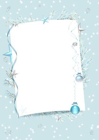 hoja en blanco: marco azul de invierno con hoja de papel en blanco, cintas, adem�s de �rboles, estrellas, bolas y los copos de nieve