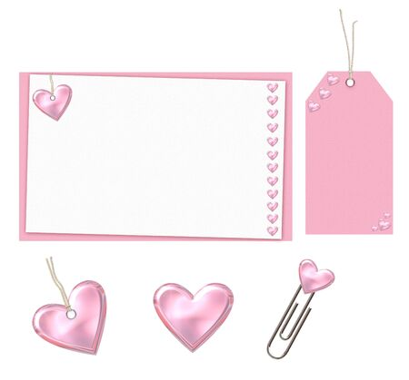 pink set with hearts isolated on a white background