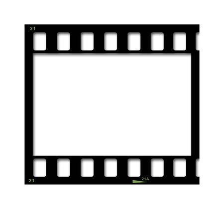 35mm black film strip isolated on white Stock Photo