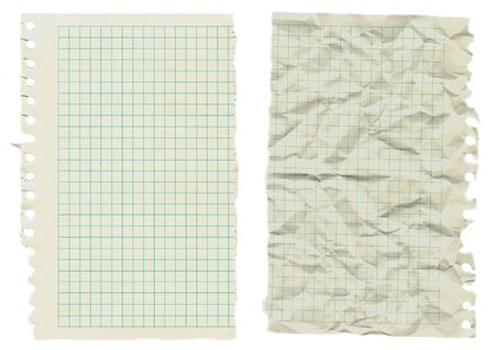 two sheets of old notebook paper isolated on white