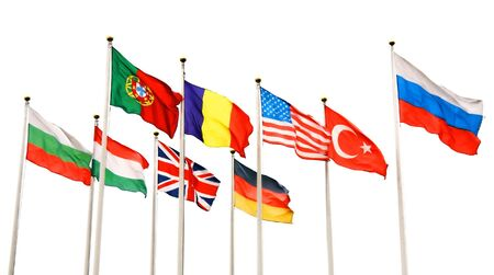 flags of different countries isolated on white background