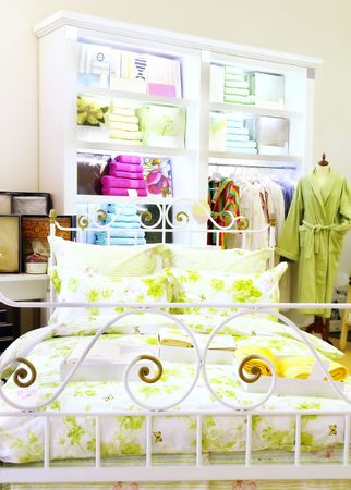 boutique of bed linen, towels and dressing gowns                              Stock Photo