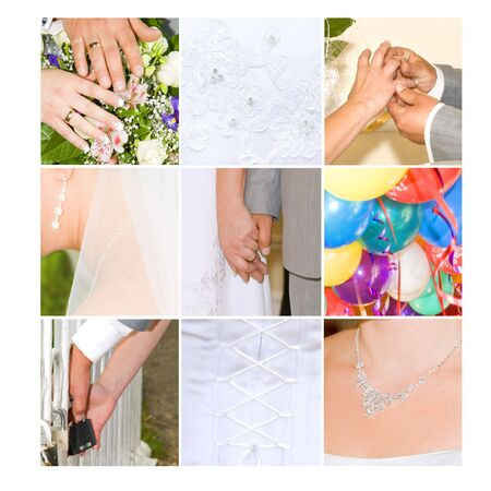 collage of colorful wedding photographs on white background Stock Photo - 3445628