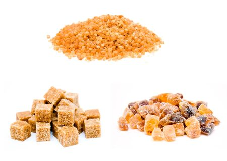 three types of reed brown sugar isolated on white background photo