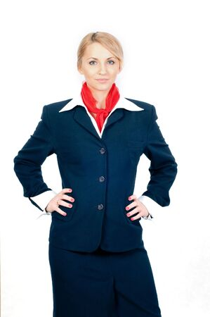 portrait of a pretty stewardess isolated on white background Stock Photo