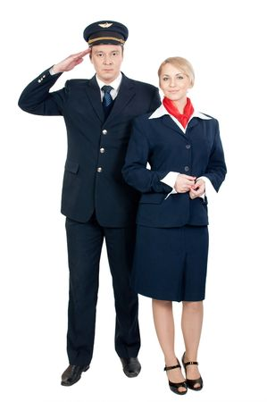 two positive flight attendants isolated on white background Stock Photo
