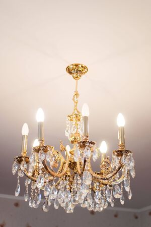 beautiful crystal chandelier in a room photo