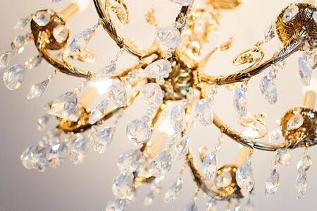 chandelier background: close-up of a beautiful crystal chandelier Stock Photo