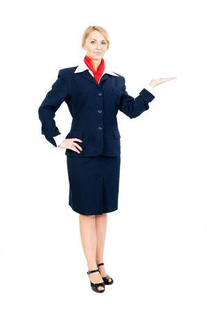 pretty stewardess pointing at something
