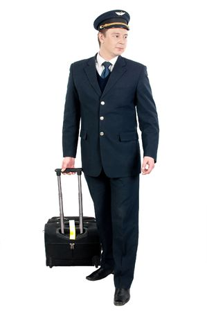 young flight attendant with his travel bag