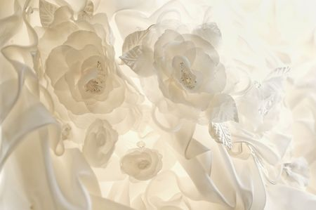 beautiful cream wedding dress detail with flowers Stock Photo