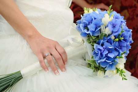 beautiful blue and white fresh flowers wedding bouquet