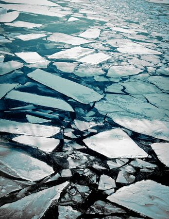 cracked ice on river in spring time Stock Photo - 9470864