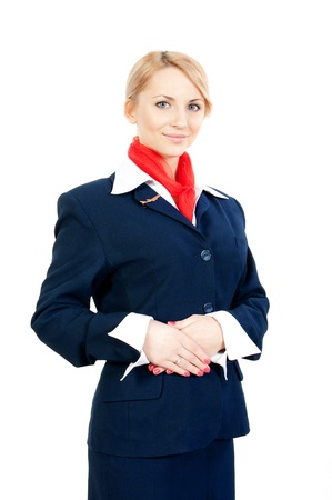 pretty young stewardess isolated on white background