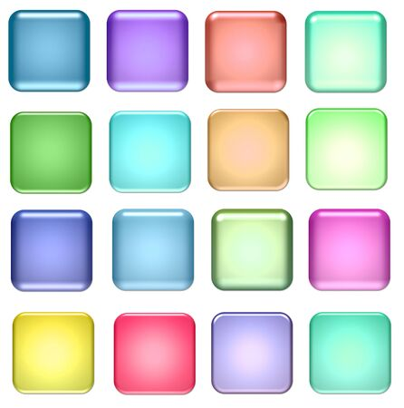 blue and green square glass buttons for design