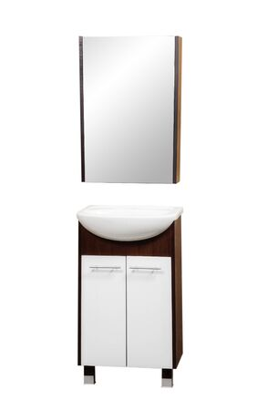 white modern bathroom furniture isolated on white background