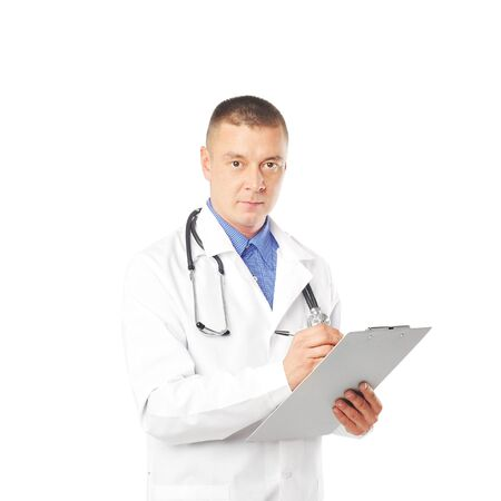 young doctor with phonendoscope against white background Stock Photo