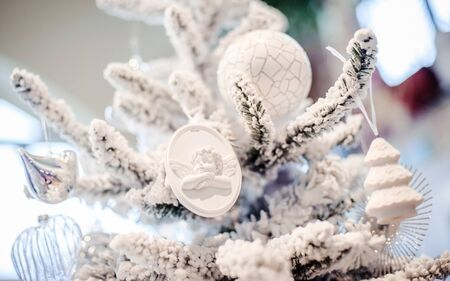 beautiful white winter christmas fir tree decor Stock Photo