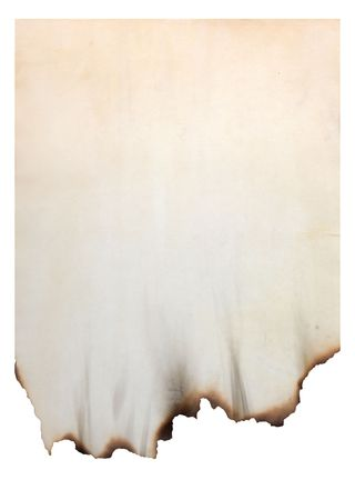 paper with burnt edges isolated on white photo