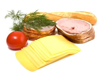 meat and cheese slices isolated on white photo