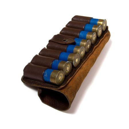 vintage ammunition belt isolated on white photo