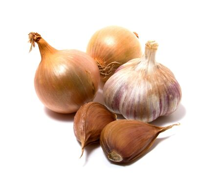 vegetal: Garlic and onion isolated on white close up Stock Photo