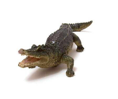 Ceramics crocodile isolated on white background photo