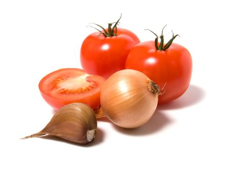 tomato and onion isolated on white background photo