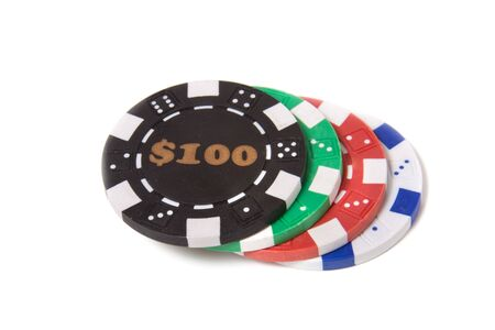 gambling chips isolated on the white background photo