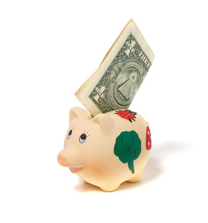 Piggy bank isolated on white background Stock Photo - 3863674