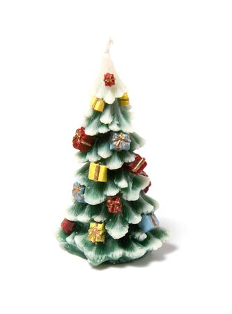 Christmas tree candle  isolated on the white background Stock Photo - 3863686