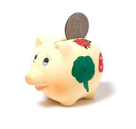Piggy bank isolated on white background Stock Photo - 3863656
