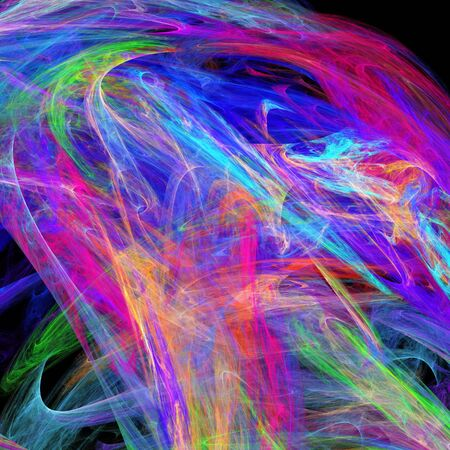 puff of colorful smoke isolated on black Imagens
