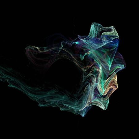 puff of colorful smoke isolated on black photo